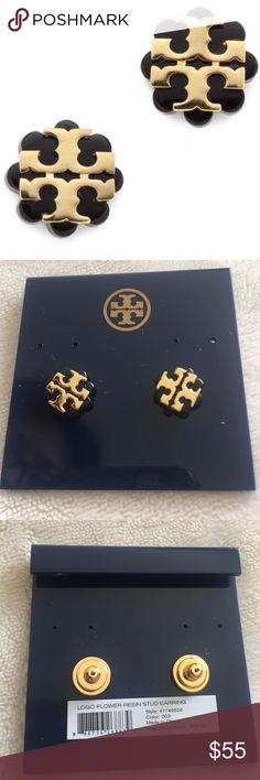 Tory Burch Logo Flower Resin Stud Earrings NWT Tory Burch Logo Flower Resin Stud Earrings. Brand new with tags. In dark navy and gold colors. No trades but listed lower on ♏️ercari💖 Tory Burch Jewelry Earrings