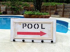 "Repurposed Wood Door Sign for Pool with by PamelaJoyceDesigns, $64.00 ""Beach Towels"""