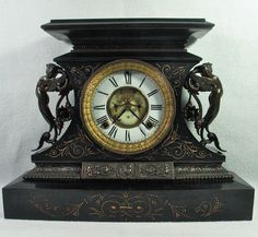 Antique Ansonia Rosalind Enameled Cast Iron Mantel Clock Great Cond Working | eBay