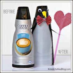 Transform an International Coffehouse Creamer bottle into a penguin valentine