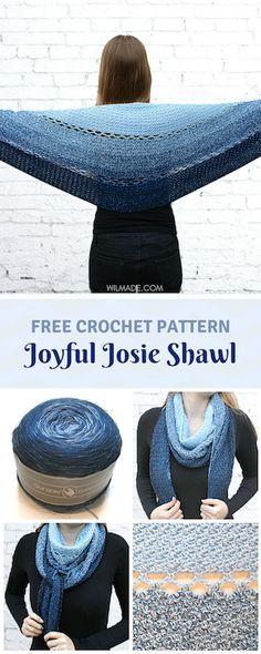 Josie Shawl - a round crochet shawl by Joyful Josie Shawl - Free crochet pattern to make this on (including video tutorial)Joyful Josie Shawl - Free crochet pattern to make this on (including video tutorial) Crochet Bolero, Crochet Shawls And Wraps, Crochet Scarves, Crochet Clothes, Crochet Stitches, Knitting Scarves, Free Knitting, Crochet Shawl Free, Knit Hats