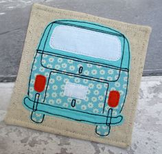 Camper Van Linen Coaster - Drinks Coaster -Gift for a VW Enthusiast - Blue Camper Van - Appliqué Coaster - Square Fabric Coaster by TheCornishCoasterCo on Etsy