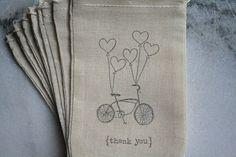 linen gift bags for wedding favors - handstamped