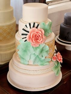 Google Image Result for http://3.bp.blogspot.com/-UAYO6bCv2IA/T5mOGfoK0RI/AAAAAAAADdM/g8ollIfyPNY/s1600/oh_how_pinteresting_wednesday_wedding_cake_mint_green_pink_gold_black_and_white_rose_pearls_details_leaves_stripes_patterns.png
