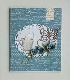Card with tea cup IO die Impression Obsession , MFT leafy flourish & rolled flowers, butterfly Memorybox, Spellbinders floral oval, Graphic 45 Botanical tea paperpad #cupcard - JKE
