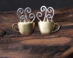 UK 925 Sterling Silver Coffee Mug Stud Earring Jewelry Women Natural Handmade Handmade Sterling Silver, Sterling Silver Jewelry, Costume Jewelry, Studs, Coffee Mugs, Handmade Jewelry, Women Jewelry, Place Card Holders, Stud Earrings