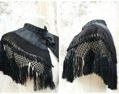 Victorian Collar, Victorian Steampunk, Witch Fashion, Goth Women, Capelet, Silk Ribbon, Fringes, Black Silk, French Vintage