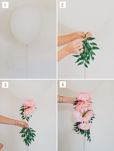 Hang silk peonies and greenery from giant latex balloons for your bridal shower decorations or wedding backdrop.