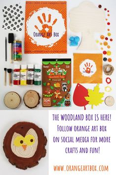 Toddler art projects, Kids art projects, Crafts for kids, November Orange Art Box - Occupy your loved ones this holiday season with a November Orange Art Box! Create Colorful Scratch Leaves, Adorn Your Wooden Tree, Decorate Wood Slices, and so much more. #art #crafts #craftideas #craftforkids #kidsart #toddlerart #artideas #diy #diyart #craftdiy Art Crafts, Arts And Crafts, Art For Kids, Crafts For Kids, Foam Paint, Toddler Art Projects, Orange Art, Wooden Tree, Paint Drying