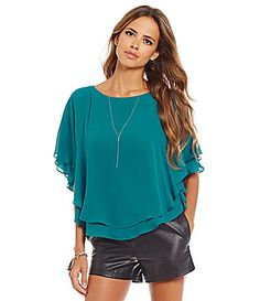 Gianni Bini Fan Fav Winnie Layered Georgette Poncho Blouse #Dillards