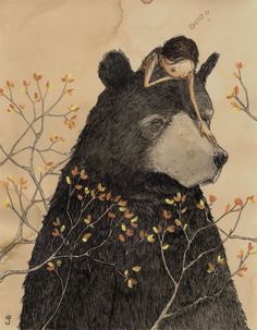 :: Sweet Illustrated Storytime :: Illustration by Graham Franciose :: Bear with… Art And Illustration, Illustration Inspiration, Inspiration Art, Friends Illustration, Illustration Children, Art Illustrations, Art D'ours, Bear Art, Art Design