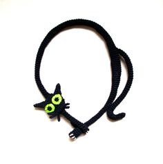 Black cat necklace Crochet necklace Cat necklace by LindaLejn, $55.00