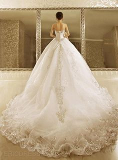 Luxurious Ball Gown Strapless Cathedral Train Wedding Dress Wedding Dresses 2014- ericdress.com 10864321