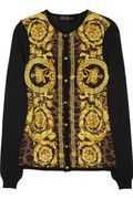 VERSACE  Printed-panel wool, silk and cashmere-blend cardigan
