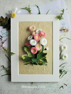 Quilled jasmine flowers made with 1mm wide paper strips and framed quilling life mightylinksfo