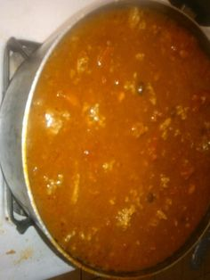 Mild 3 bean chili with meat. Serve over rice.