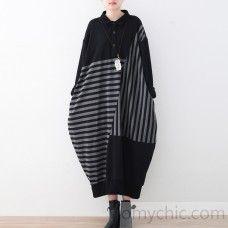2017 black linen maxi dress plussize patchwork long cotton dresses top quality striped dress