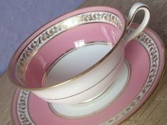 Vintage 1930's Pink Teacup and Saucer, Cauldon English bone china teacup, Wide rim tea cup, Antique teacup, hand painted Are deco tea cup