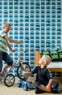 Behang Rush Hour blauw van Ferm Living