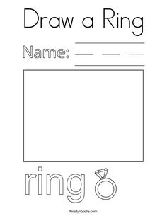Draw a Ring Coloring Page - Twisty Noodle School Sports, School Fun, Ing Words, Cool Coloring Pages, Kids Prints, Cursive, Mini Books, Phonics, Noodle