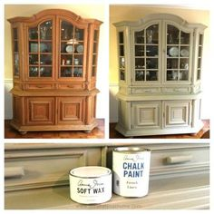 China Cabinet Chalk Paint Makeover - Sondra Lyn at Home. This best image collections about China Cabinet Chalk Paint Makeover - Sondra Lyn at Home is . Refurbished Furniture, Repurposed Furniture, Shabby Chic Furniture, Furniture Makeover, Antique Furniture, Dresser Repurposed, Thomasville Furniture, Rustic Furniture, China Cabinet Redo