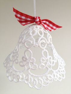 Tatting ~ White tatted bell Christmas decoration wedding by SILHUETTE Tatting Jewelry, Tatting Lace, Needle Tatting Patterns, Crochet Patterns, Diy And Crafts, Christmas Crafts, Christmas Decorations, Christmas Bells, Christmas Ornaments