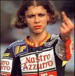 A Young Valentino Rossi MotoGP finger salute