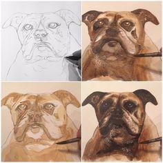 Pet portraits by Watercolour Paintings, Watercolor, Pet Portraits, Art Art, Your Pet, Moose Art, How To Draw Hands, Pets, Blue
