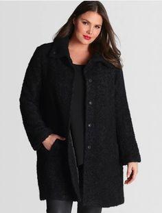 Eileen Fisher Plus Size Black Alpaca Coat