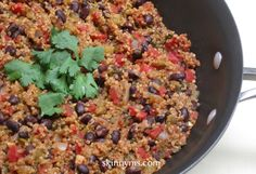 """Quinoa with Black Beans ~ """"If you are a quinoa hold out but love Mexican food, this dish will convince to make quinoa a regular part of your dinner menu. Skinny Quinoa with Black Beans is both gluten free and vegetarian. Vegetarian Quinoa Recipes, Mexican Food Recipes, Whole Food Recipes, Vegan Recipes, Cooking Recipes, Dinner Recipes, Cooking Tips, Superfood Recipes, Simple Recipes"""