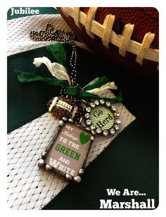 Licensed Marshall University Green and White by jubileejewelry1, $45.00....Now that I'm a Marshall student again, my school spirit has resurfaced so I think I NEED this.