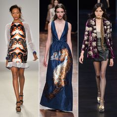 Leopard print, although a classic, was a big trend on the Fall 2014 runways. This season, though, it's all about the wildlife less ordinary. Chameleons and creepy crawlers – from crabs and scorpions to seahorses and jelly fish – found their way onto sweet dresses, and instead of tiger stripes, gowns showcased the face of the beasts.