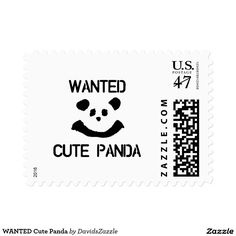 WANTED Cute Panda  #panda #cute #animal #stamp #postage #mailing #mail #black #white #cartoon #nature #wildlife #funny #humor #humorous #comical #sign #posted #greeting #invitation #family #friend #postcard #zazzle #buy #sale