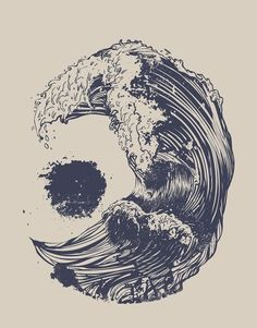 Skull Waves Illustration Illusion Beach Ocean Nautical Tattoo