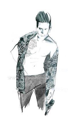 Men's Fashion illustration by Kazue Shima. Men's textile, rose. (Material: water color, pencil, photoshop) http://www.kazueshima.com/english/mens-fashion/1044.html