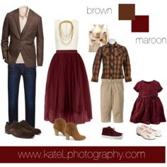 Brown/Maroon outfit inspiration: what to wear for a family photo session in the fall. Created by Kate Lemmon, www.kateLphotography.com
