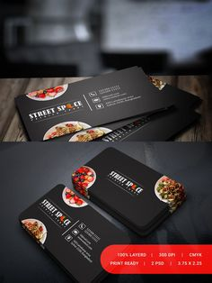 Street Spice Business Card Simple,Clean and modern Restaurant & Food business card template. Business Card Mock Up, Modern Business Cards, Business Card Design, Street Food Business, Catering Business, Visiting Card Design Psd, Sport Food, Spices Packaging, Catering Design