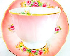 Vintage Aynsley Pink and White Floral Rose Tea by twolittleowls