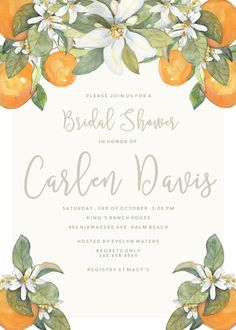 The Carlen is a simply chic and elegant baby or bridal shower invitation with lovely orange blossom detail. This would also work nicely for rehearsal dinner invitations or wedding Save the Dates. At checkout, please specify color preferences. This particular invitation measures 5x7 inches, and fits A7 envelopes. How do I purchase? 1. Add listing to cart. 2. In the Notes to Seller, please list your event details. 3. Check out and allow up to 2 days for for the proof to reach you by email…