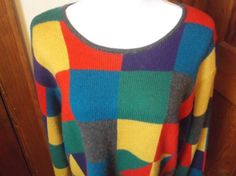 Womens-Pullover-Sweater-22-24-Jacque-KoKo-Bright-Colored-Geometric-Pattern
