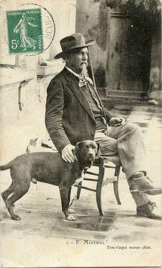 Frédéric Mistral et son chien Pan Panet, fils de Pan Perdu. Maillane