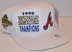 Atlanta Braves MLB Baseball Vintage 1995 World Series Champions Snapback Hat NWT #OutdoorCap #AtlantaBraves Hats For Sale, Atlanta Braves, Snapback Hats, Mlb, Nike Men, Champion, Baseball, Vintage