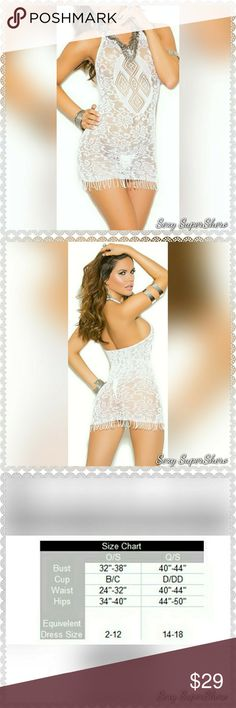 🆕 Boho Babe Crochet mini dress w fringe lingerie The Lingerie Crochet mini dress with fringe trim brings out the sexieste boho babe vibes 😍  Size(s): One Size (see size chart pic for O/S, not available in Q/S)  Color(s): White  Material(s): 90% Nylon, 10% Spandex  Price is FIRM unless bundled 💰 Bundle & Save 💨📦 Ships in 1-2 Business Days Sexy SuperShero Intimates & Sleepwear Chemises & Slips