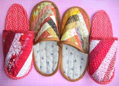 Ta Dah!: Strippy quilted slippers
