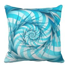 Cute Aqua Abstract Art Throw Pillows