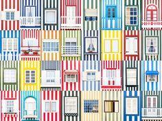 Photographer André Gonçalves Takes Photos Capturing the Vibrant Diversity of Portugal's Windows. Costa Nova Portugal, Phuket, Portuguese Culture, Station Balnéaire, Unusual Buildings, House Sketch, Architecture Images, Goncalves, Photography Projects