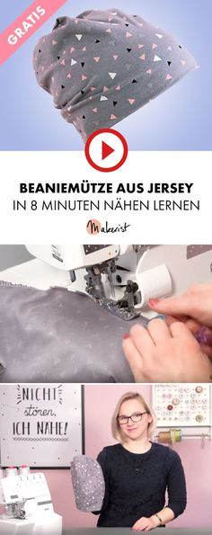 Sew a beanie made of jersey fabric to the overlock - with a free cut - Beaniemütze aus Jerseystoff an der Overlock nähen – mit gratis Schnitt Instructions and free sewing pattern for sewing a jersey beanie Baby Hat Patterns, Sewing Patterns Free, Free Sewing, Pattern Sewing, Easy Sewing Projects, Sewing Projects For Beginners, Sewing Tutorials, Crochet Shell Stitch, Diy Couture