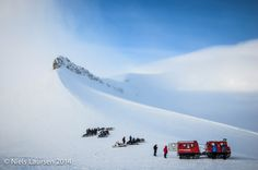 Snowcat at the top of Longyearbreen, Spitsbergen