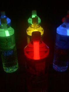 Night Bowling with glow stick water bottles