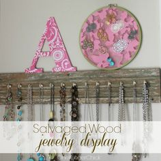 DIY salvaged jewelry organizer - you can use salvaged wood or pallets to pull off this great organizer.